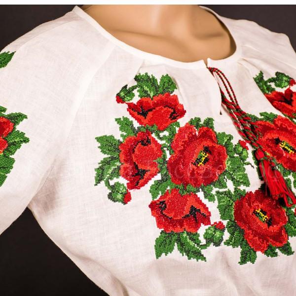 Рубаха женская Маки крестиком
