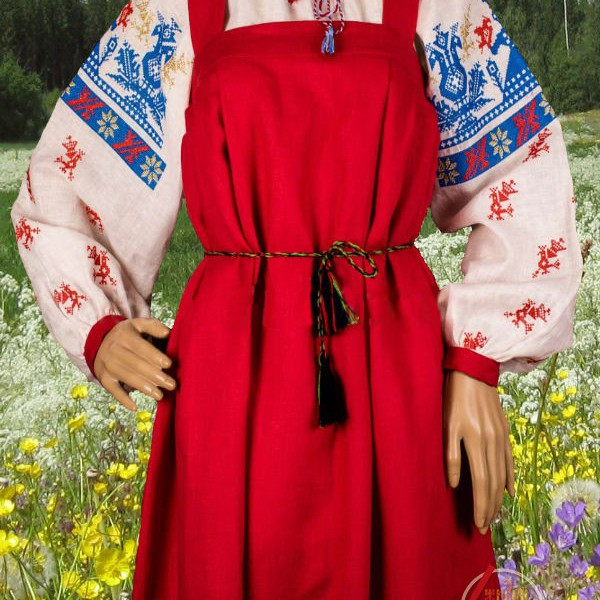 Сарафан русский Ужики и колос с васильками