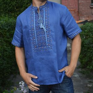 Славяннская Рубаха Агний короткий рукав синева