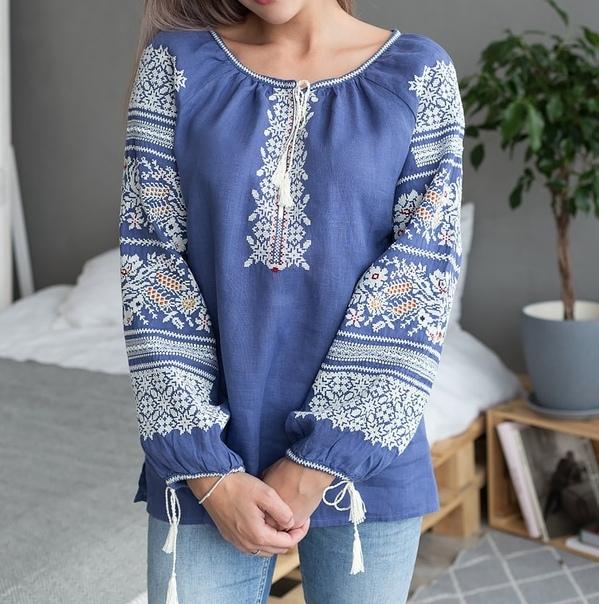 Славянская женская Рубаха - Цветы и колосья