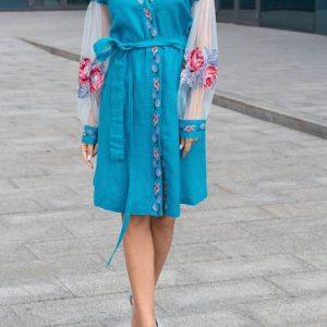 Славянское Платье Цветимира бирюза