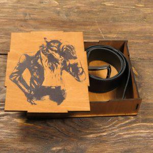 Подарочный набор из кожи - Современный волк