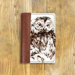 Кожаная обложка для паспорта. Лесная сова