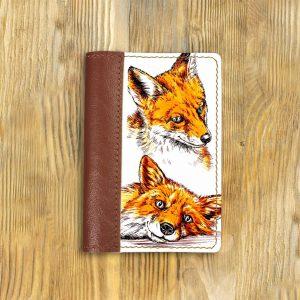 Кожаная обложка для паспорта. Лисы