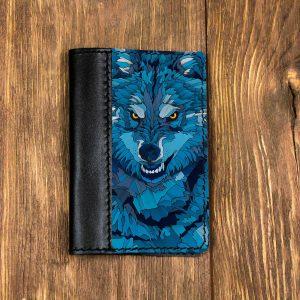 Кожаная обложка для паспорта. Синий Волк