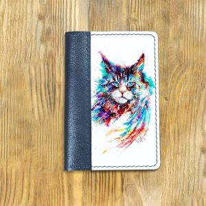 Кожаная обложка для паспорта. Кот в цвете
