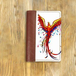 Кожаная обложка для паспорта. Феникс